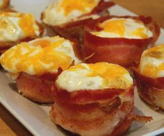 This sort of redefines the term 'bacon and eggs for breakfast'. Each egg muffin is wrapped with one piece of bacon, and baked in muffin tins. This makes a perfect breakfast for any morning.
