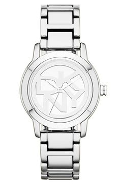 'Tompkins' Round Logo Dial Bracelet Watch, 32mm http://picvpic.com/women-watches/round-logo-dial-bracelet-watch#silver