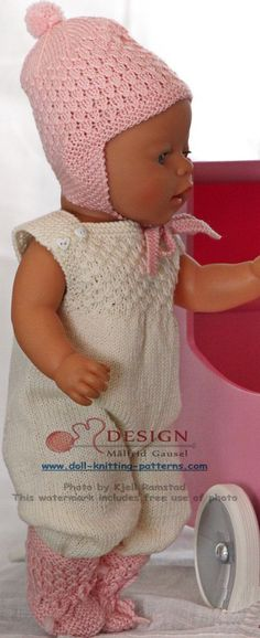 knit gorgeous doll clothes in pink and white