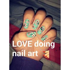 Caption says it all! Blue nails with flowers.