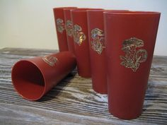 Vintage Retro Set of Six Mushroom Rust/ Burnt Orange Colored Plastic Cup Tumblers, 1970's on Etsy, $11.00