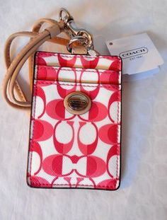 Coach Coach Peyton C Coated Canvas Leather Lanyard Badge ID Card Case Holder, 66799, NWT w/Coach Gift Box