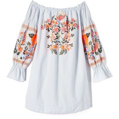 Free People Fleur Du Jour Mini Dress ($150) ❤ liked on Polyvore featuring dresses, off the shoulder peasant dress, flower embroidered dress, off the shoulder short dress, flutter-sleeve dresses and ruffled dresses