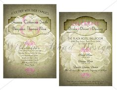 Peony Vintage Wedding Stationery - In olive greens and light pink, this has a romantic, vintage feel. Created by me.