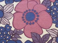 Giant Mod Purple Poppies Heavy Fabric | Vintage Fabric Addict