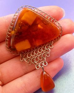 j1 Multi-Colour Cognac Honey Yellow Baltic Amber gemstone brooch jewelry 10 g