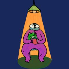 A cup of hot tea, stay with a little #friend, it's still warm, #hope is still hanging there. #digitalart #drawing #illustration #art #frog #night #light #lamp #wacom