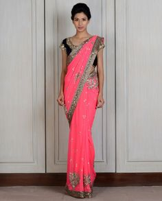 Pink Georgette Embroidered Sari- Buy Couture,Saris,New Arrivals Online | manishmalhotra.in