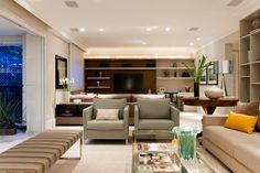 Lindo projeto de decoração de interiores de um apartamento de 150m2 localizado no Brooklin. Atual e sofisticado o conceito foi a integração dos espaços.