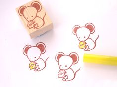 Mouse rubber stamp, Tooth fairy stamp, Mouse and cheese, Japanese stationery, Strong teeth, Kawaii animal stamp, Baby shower, Birthday cards(Etsy のJapaneseRubberStampsより) https://www.etsy.com/jp/listing/486242857/mouse-rubber-stamp-tooth-fairy-stamp