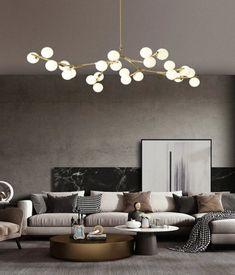 Chandelier Creative, Cheap Chandelier, Ceiling Chandelier, Chandeliers, Copper Living Room, Chandelier In Living Room, Living Room Lighting, Slanted Ceiling, Ball Lights
