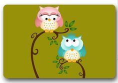 Free Ship2015 New Design Custom Love Owl Couple Doormats Bedroom Coussin Carpets Bathroom Cartoon Rugs #DM-256