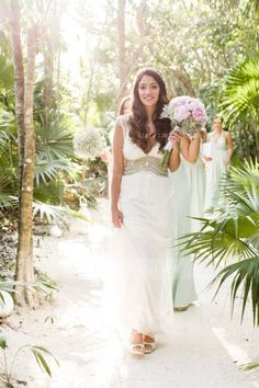 Boho Sleeveless Deep V Neck A-line Lace Pattern Wedding Dress with Crystal Detailling Waist