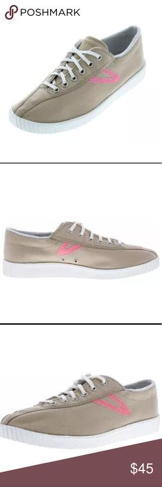 Tretorn Khaki/Pink Nylite Canvas Men's Shoes 9-10 The upper part is made from  fabric - fabric. The material of the lining is fleece, insulation. The insole made from textile provides comfort. The material of the antislip sole is rubber. The model is equipped with Ortholite technology. Casual and universal pair of shoes   Nylite Color khaki Upper fabric - Canvas Lining: fleece, insulation Technologies Ortholite Insole: textile Width - Medium (D, M)  Upper Material - Canvas  Outsole…
