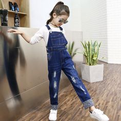 15eb11e86 Fashion Children Girls Jumpsuit Denim Overalls New Spring Autum Girls  Overalls Kids Denim Pants Girl Overalls Children Clothing