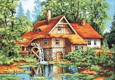 B480 Molino en el Bosque - Luca-S - Kit de Punto de Cruz City Landscape, Landscape Paintings, Tapestry Kits, Art Japonais, Thomas Kinkade, Forest House, Le Moulin, Cross Stitch Kits, Beautiful Artwork