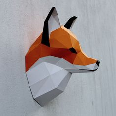 Papercraft fox head printable DIY template 8 by WastePaperHead Origami Paper, Diy Paper, Paper Cards, Paper Head, Fox Head, Colored Paper, Kirigami, Paper Toys, Paper Crafting