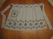 """Vintage Black Gingham Embroidered Half Apron/78"""" Tie-to-Tie & 22.5"""" Long"""