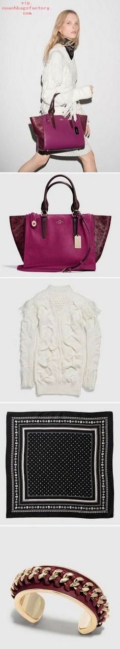 A cranberry-colored mix of python-embossed and smooth leathers gives the structured Coach Crosby a striking update. Wear it with our playfully textural sweater dress for statement style. Coach Handbags, Coach Purses, Purses And Handbags, Coach Bags, Leather Handbags, Fashion Handbags, Fashion Bags, Runway Fashion, High End Handbags
