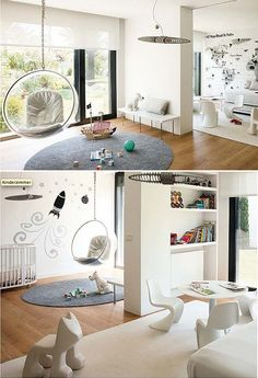 Ultra modern black and white playroom: thumbs up for the reading nook E Room, Nursery Room, Nursery Ideas, Home Office Design, House Design, White Nursery, Shared Rooms, Learning Spaces, Kids Decor