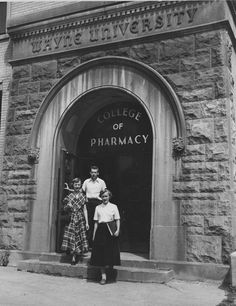 In 1924 the Detroit Board of Education established the College of Pharmacy at Cass Tech as part of the College of the City of Detroit. In 1925 the college moved to Old Main.  Read about the history of the Eugene Applebaum College of Pharmacy and Health Sciences.  Photo courtesy of Walter P. Reuther Library.