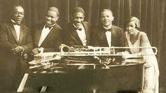 Louis Armstrong and his hot five. Famous Jazz band in the 1920's.