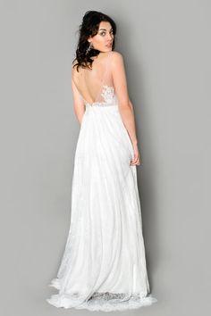 Brautkleid mit Spitze-Tattoo; Tiefer Rückenausschnitt;  Bridal Dress with Lace Tattoo, open low back