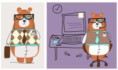 """Colección """"At the office"""" #toddlers by nariasat. #babypreppy #attheoffice #cutebears #geek #cuteworker #rhombusprints"""