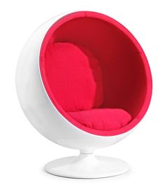 MIB Lounge Chair Red - Zuo Modern.  This item ships FREE!         Bring back the sixties, this fun and iconic chair has two plush velour cushions inside a glossy fiberglass shell with a swivel base. Party on and peace out!   More images available by clicking to ProjectDecor.com