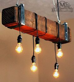 Makarios Decor Rustic Beam Chandelier, Barn Beam Light