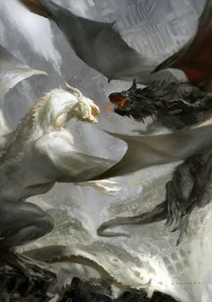 """© 2015 Tor Books. Cover for upcoming Will Elliott novel """"World's End,"""" third in the Pendulum Trilogy, featuring a dragon battle! Digital painting by sheppardarts (Cynthia Sheppard), via DeviantART http://www.sheppard-arts.com/"""