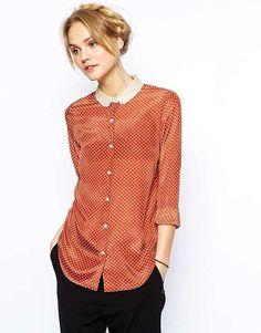 Maison Scotch Silk Shirt in Polka Dot Print
