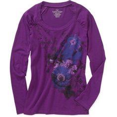Faded Glory - Women's Long-Sleeve Graphic Tee, Purple