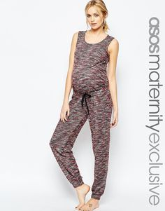 ASOS Maternity LOUNGE Jumpsuit In Space Dye With Tie Waist
