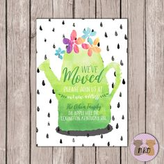PRINTABLE- Watercolor- Moving Announcement- Watering Can Moving Announcement- We've Moved Card- 5x7 JPG by MaddieKatDesign on Etsy