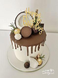 Modern Birthday Cakes, Pretty Birthday Cakes, 18th Birthday Cake, Pretty Cakes, Cupcakes, Cupcake Cakes, Chocolate Cake Designs, Cake Decorating Designs, Torte Cake
