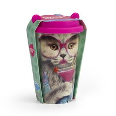 Cute cat travel mug! #cat #posh #travelmug #pink #martini #ShopTheRocket