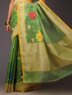 Green Rose Motifs Banarasi Kora Silk Saree