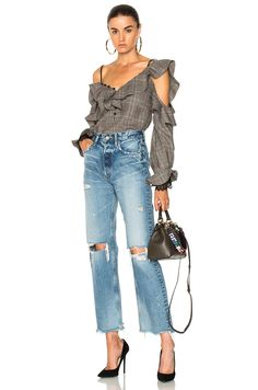 Shop for self-portrait Wool Check Off Shoulder Frill Top in Grey & Red at FWRD. Fashion 2017, Womens Fashion, Frill Tops, Funky Outfits, Funky Fashion, Spring Looks, Casual Chic, Going Out, Autumn Fashion