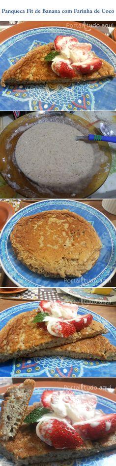 Aprenda a fazer essa receita Fit de panqueca de banana com farinha de coco que é simples de fazer e deliciosa!