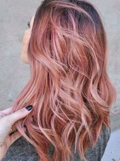 Rose Gold Hair with Brown Roots