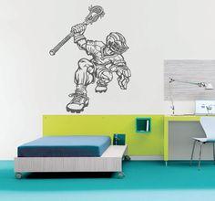 ik877 Wall Decal Sticker lacrosse helmet sport room teens kids teen bedroom