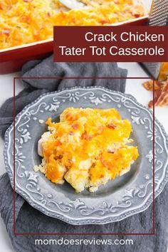 Crack Chicken Tater Tot Casserole Recipe - Mom Does Reviews Tater Tot Casserole, Casserole Dishes, Casserole Recipes, Crack Chicken, Baked Chicken, Turkey Recipes, Chicken Recipes, Recipe For Mom, Amazing Recipes