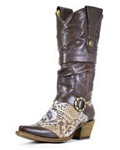 Women's  Silver/Brown Python Slouch Boot - C1830. All I gotta say is DAMN!! These boots are FINE!!