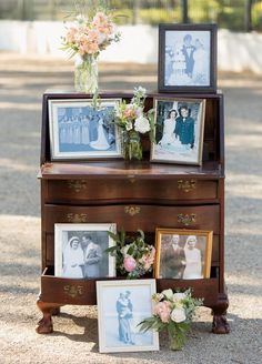 family photo wall ideas with vintage wedding dresser