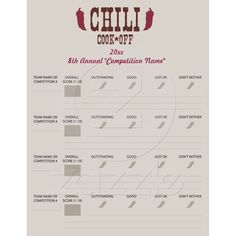 Chili Cook Off Voting Ballot Sheet Letterhead Template from Zazzle.com