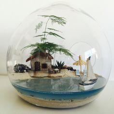 Beach terrarium bring a little of the beach to your home office. Mini Terrarium, Terrarium Scene, Terrarium Plants, Glass Terrarium, Succulent Terrarium, Succulents Garden, Terrarium Ideas, Beach Fairy Garden, Beach Gardens
