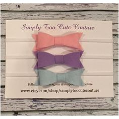 Light pink Lavender and baby blue Felt bow by SimplyTooCuteCouture
