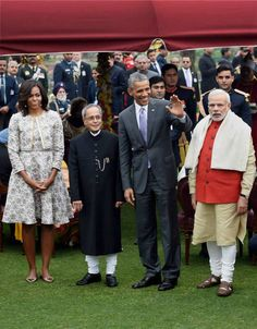 President Pranab Mukherjee with US President Barack Obama, First Lady Michelle Obama and Prime Minister Narendra Modi during an At-Home reception on the occasion of 66th Republic Day at Rashtrapati Bhavan in New Delhi on Monday. (Source: PTI)