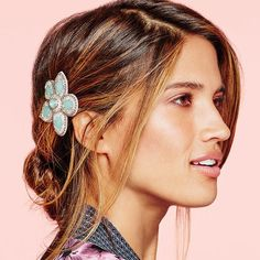 "Faceted plastic stones, silvertone beads and seed beads on fabric.  • Snap barrette.  • 2 3/8"" W. Shop #Avon online at https://dawnrodriguez.avonrepresentative.com/"
